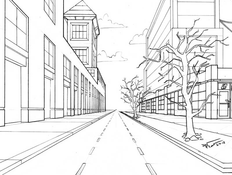 рисунок улицы города карандашом для начинающих встретились