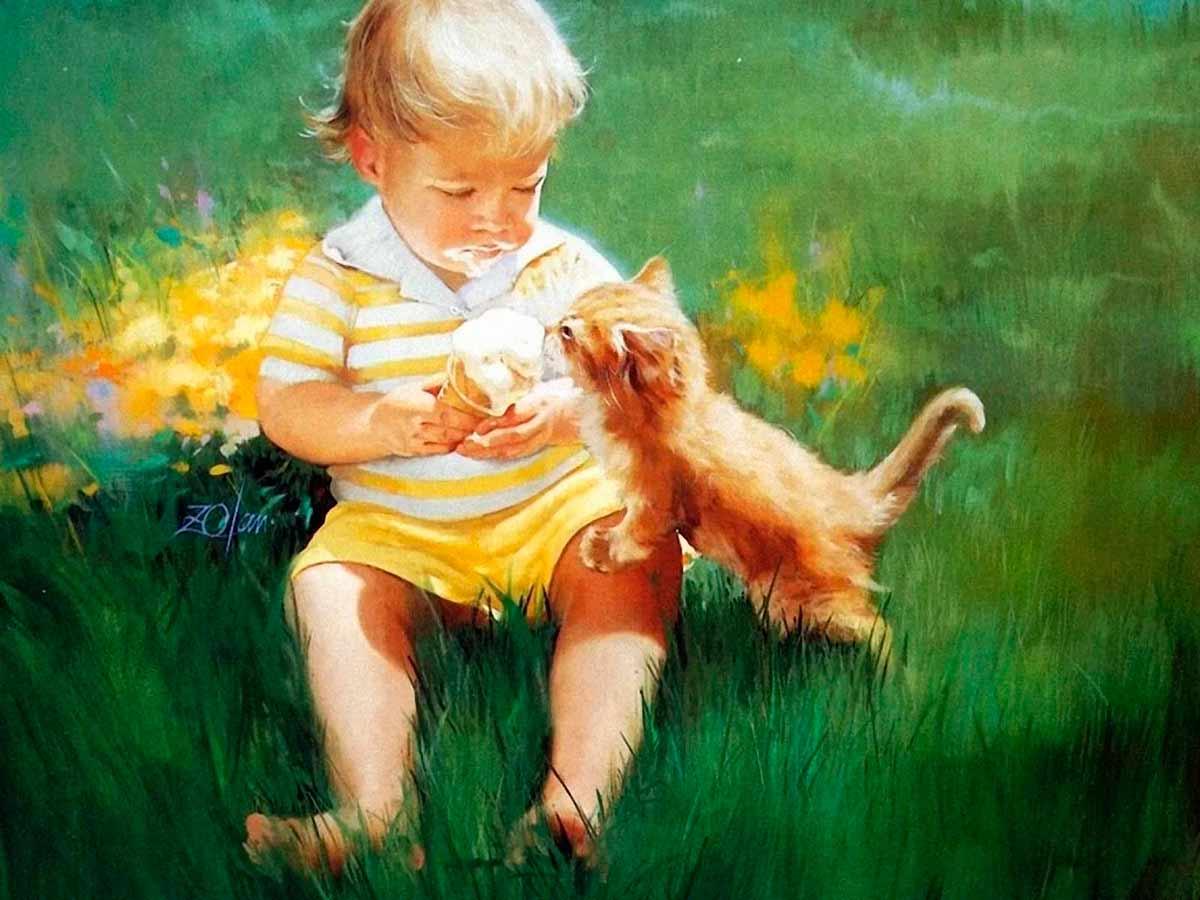 Мальчик с открытки краски год